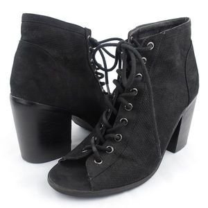Urban Outfitters Suede Lace Up Peep Toe Booties